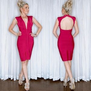 Herve Leger Pink Bodycon Fitted Mini Dress